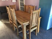 Oak Furniture Land solid Mango dining set with 6 chairs 170cm length 85cm width
