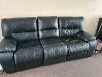 for sale 3 seater black leather recliner sofa plus a 2 seater thrown in free