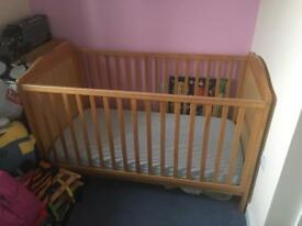 Cot Bed Wooden Pine with Mattress