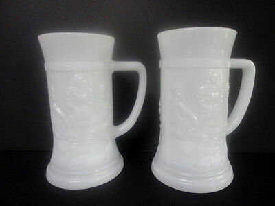 MINT Set (2) White Milk Glass BEER STEINS Rootbeer Float Mugs Cups Raised Cafe!