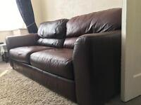 Real Leather 2/3 seater sofa + double sofa bed
