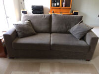 John Lewis brown fabric 3-seater sofabed.