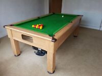 pool table and cues