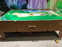 Wooden train table with 2 drawers