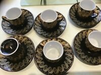 Vintage Yamasen 24ct gold plated collection, espresso cups an saucers