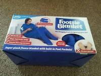 Footsie blanket JML BNIB box new fleece blue foot throw feet pockets snuggle sofa chair