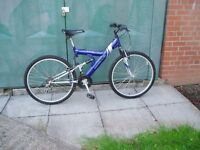 "Mountain Bike,18"" Frame, 26"" Alloy Wheels, F+R Suspension, CYCLE SHOP SERVICED."