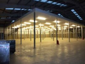 Used Mezzanine Floor 30m x 25m x 5m High 750sq/m All fire rated. 2 Staircases & Handrails