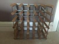 Large Wooden and Metal Wine Rack