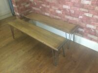 2 X Benches with Hairpin Legs - Made from solid Beech Wood - Very Heavy - Excellent Quality