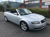 ***AUDI A4 CABRIOLET 1.8 T S-LINE ONLY 1 OWNER+LEATHER TRIM+MOT+PARKING SENSORS***£2495!