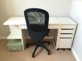 IKEA desk with filing/draw cabinet and office chair