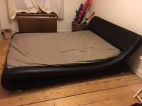 Double bed for sale - brown faux leather.