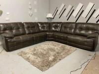 Beautiful Ex Display SCS electric recliner brown corner sofa