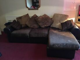 Large Leather and Fabric Sofa : FREE