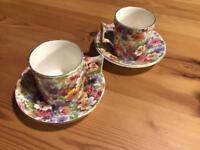 2 x James Kent 'du barry' shabby chic floral chintz espresso cups