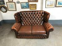 Very nice brown leather Chesterfield 2 seater sofa UK delivery