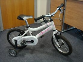 "Ridgeback Honey 14"" girl's bike age 4 - 6. White. Excellent condition. Stabilizers."