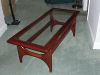 1960's Large Glass Top Coffee Table