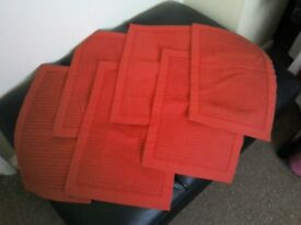 Red table mats. Ideal for Christmas. Smoke free pet free home.