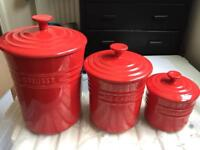 3 Le Creuset Storage Jars. Largest 22cm tall without lid.