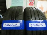 235 45 18 MATCHING CONTINENTAL TYRES X2 £90 INC BALANCE AND FITTING #OPEN 7 DYAS #
