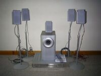 speaker stand with speakers and faulty dvd player
