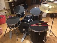 Full Sized Drum Kit with Zildjian Cymbals and Silencer Pads