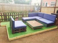 Home made pallet corner sofa outdoor unit