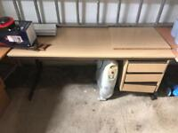 Office table wooden with shelfs large desk professional business good condition
