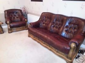 Chesterfield oxblood leather suite, solid oak frame. 3 + 1 + coffee, side tables
