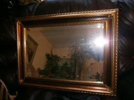 Vintage beautiful gold wooden framed rectangular mirror