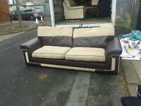 3 seater sofa in brown leather and fabric £95 delivered