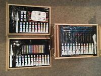 Art box with paints, pencils, etc