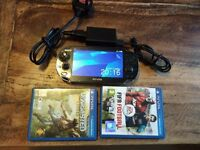 Playstation Vita + 2 Free Games (uncharted/Fifa), Memory card, official charger/Lead