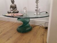 Solid glass dinning room table and matching coffee table