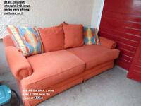 used top range terracota 3+2 sofas in fabric