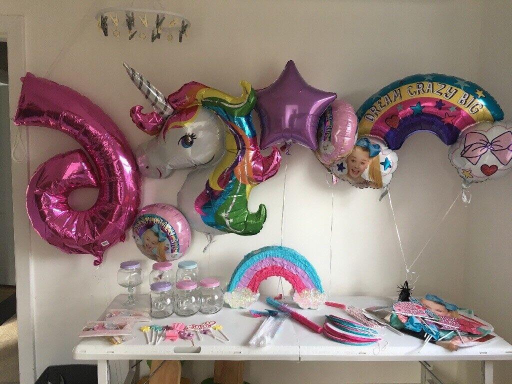 Jojo Siwa Rainbow Unicorn Girls Party Bundle Cake Topper