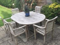 Teak Garden Furniture - Table and 6 Chairs