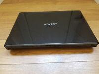 Advent Laptop 3Gb RAM 160 HD Intel Dual DVD WiFi Windows 10 64bit missing key and duff battery