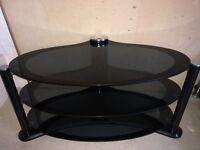 3 Tier Oval Black Glass TV Stand