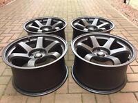 """4 x Rota Grid Matt Bronze 4x114 18"""" 10j ET30 Wheels Nissan JDM Drift"""