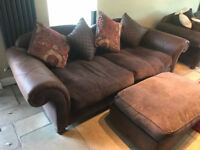 2 x 4 Seater Sofa & 1 x Footstool Thorpe Range by Sofaworks (Will Sell just 1)