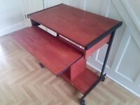 COMPUTER DESK PC TROLLEY WITH WHEELS HEAVY DUTY METAL FRAME LEICESTER