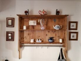 Hand-made Solid Pine Dresser Top/Bookshelf/Plate/Display Unit + cup/mug hooks & metal hanging rail