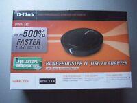 D-LINK Rangebooster N USB Adapter (Improves WiFi Reception/ Signal) = BRAND NEW SEALED