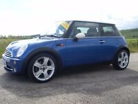 2005 MINI COOPER 1.6 BLUE PETROL MOT MAY 17 GREAT CAR MUST SEE THREE DOOR HATCHBACK £3495 OLDMELDRUM
