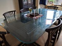 8 Seater Glass Top Wooden Dining Table