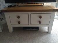 Shabby Chic Chalk White Oak TV Cabinet