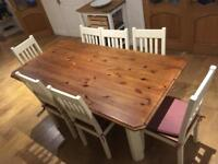 Pine country style 6 seater dining table and chairs